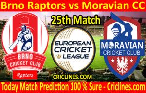 Today Match Prediction-Brno Raptors vs Moravian CC-ECN T10 League-25th Match-Who Will Win