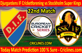 Today Match Prediction-Djurgardens IF Cricketforening vs Stockholm Super Kings-ECS T10 Kummerfeld Series-22nd Match-Who Will Win