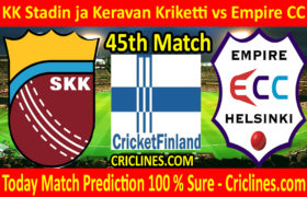 Today Match Prediction-KK Stadin ja Keravan Kriketti vs Empire CC-FPL T20 League-45th-Who Will Win