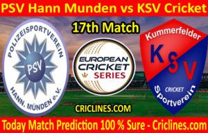Today Match Prediction-PSV Hann Munden vs KSV Cricket-ECS T10 Kummerfeld Series-17th Match-Who Will Win