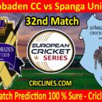 Today Match Prediction-SaltsJobaden CC vs Spanga United CC-ECS T10 Botkyrka Series-32nd Match-Who Will Win