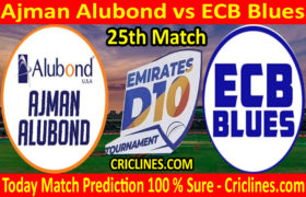 Today Match Prediction-Ajman Alubond vs ECB Blues-D10 League Emirates-UAE-25th Match-Who Will Win
