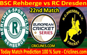 Today Match Prediction-BSC Rehberge vs RC Dresden-ECS T10 Dresden Series-22nd Match-Who Will Win