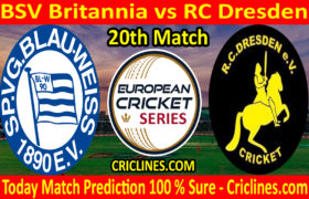 Today Match Prediction-BSV Britannia vs RC Dresden-ECS T10 Dresden Series-20th Match-Who Will Win