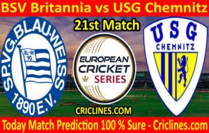 Today Match Prediction-BSV Britannia vs USG Chemnitz-ECS T10 Dresden Series-21st Match-Who Will Win