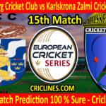Today Match Prediction-Gothenburg Cricket Club vs Karlskrona Zalmi Cricketforening-ECS T10 Series-15th Match-Who Will Win