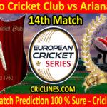 Today Match Prediction-Malmo Cricket Club vs Ariana AKIF-ECS T10 Series-14th Match-Who Will Win