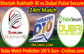 Today Match Prediction-Sharjah Bukhatir XI vs Dubai Pulse Secure-D10 League Emirates-UAE-24th Match-Who Will Win