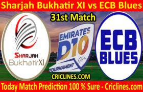 Today Match Prediction-Sharjah Bukhatir XI vs ECB Blues-D10 League Emirates-UAE-31st Match-Who Will Win