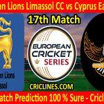 Today Match Prediction-Sri Lankan Lions Limassol CC vs Cyprus Eagles CTL-ECS T10 Cyprus Series-17th Match-Who Will Win