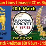 Today Match Prediction-Sri Lankan Lions Limassol CC vs Riyaan CC-ECS T10 Cyprus Series-20th Match-Who Will Win