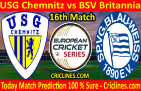 Today Match Prediction-USG Chemnitz vs BSV Britannia-ECS T10 Dresden Series-16th Match-Who Will Win