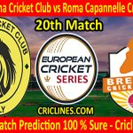 Today Match Prediction-Asian Latina Cricket Club vs Roma Capannelle Cricket Club-ECS T10 Rome Series-20th Match-Who Will Win