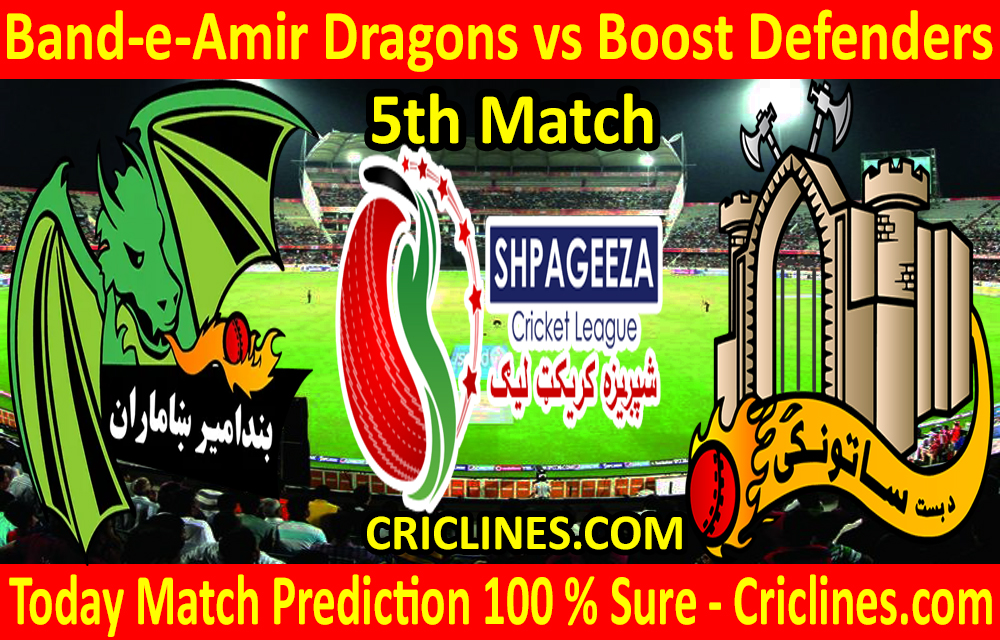 Today Match Prediction-Band-e-Amir Dragons vs Boost Defenders-Shpageeza T20 Cricket League-5th Match-Who Will Win