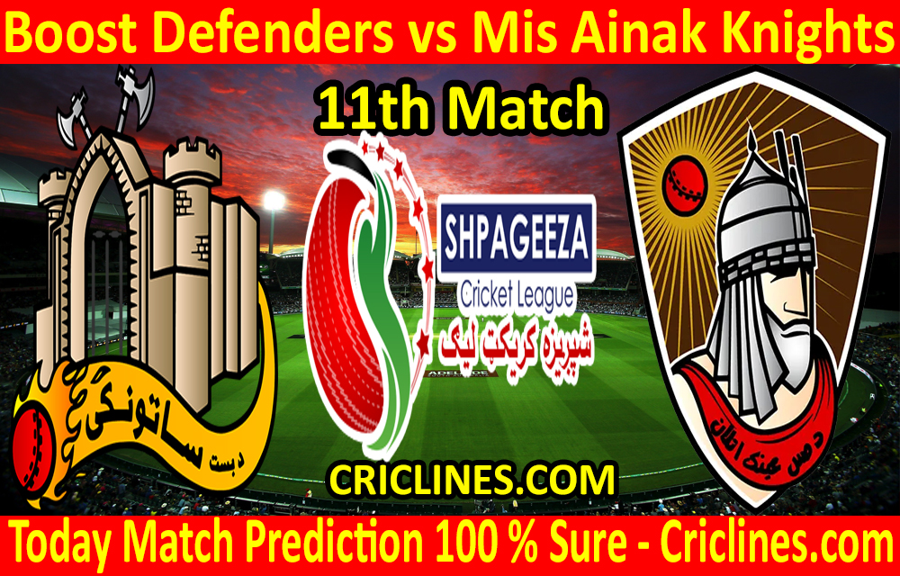 Today Match Prediction-Boost Defenders vs Mis Ainak Knights-Shpageeza T20 Cricket League-11th Match-Who Will Win