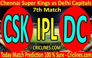 Today Match Prediction-Chennai Super Kings vs Delhi Capitals-IPL T20 2020-7th Match-Who Will Win