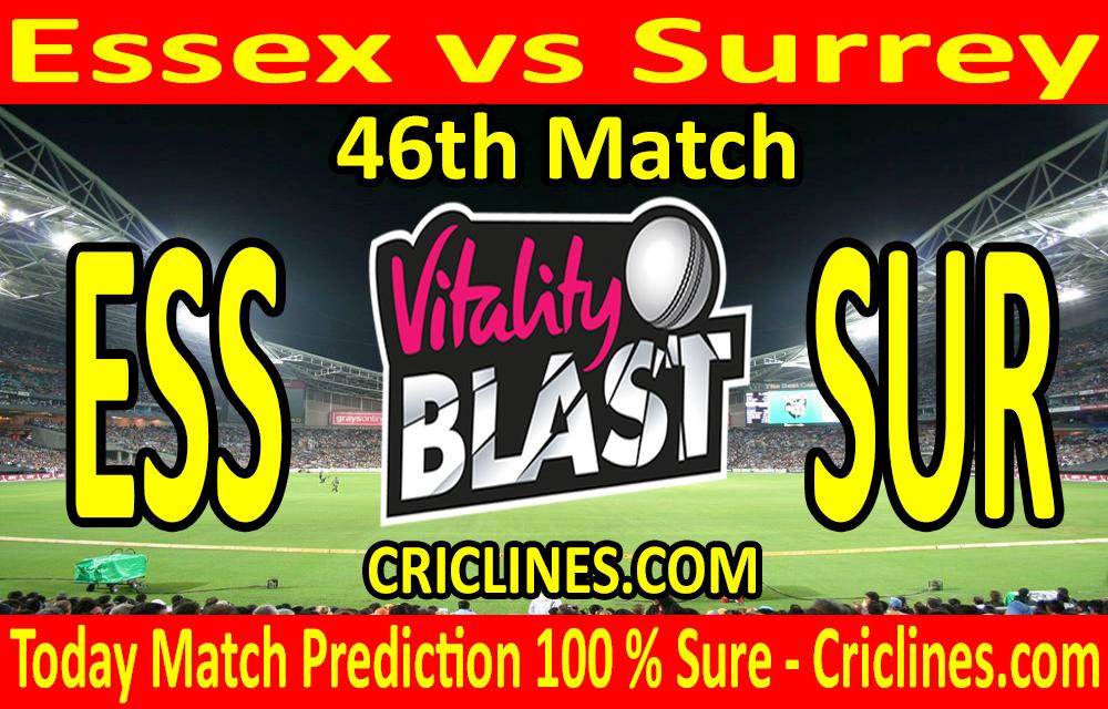 Today Match Prediction-Essex vs Surrey-Vitality T20 Blast 2020-46th Match-Who Will Win