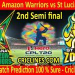 Today Match Prediction-Guyana Amazon Warriors vs St Lucia Zouks-CPL T20 2020-2nd Semi-final-Who Will Win