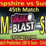 Today Match Prediction-Hampshire vs Sussex-Vitality T20 Blast 2020-45th Match-Who Will Win