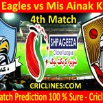 Today Match Prediction-Kabul Eagles vs Mis Ainak Knights-Shpageeza T20 Cricket League-4th Match-Who Will Win