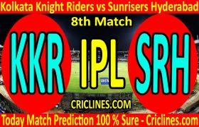 Today Match Prediction-Kolkata Knight Riders vs Sunrisers Hyderabad-IPL T20 2020-8th Match-Who Will Win