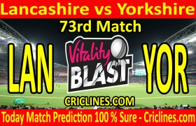 Today Match Prediction-Lancashire vs Yorkshire-Vitality T20 Blast 2020-73rd Match-Who Will Win