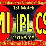 Today Match Prediction-Mumbai Indians vs Chennai Super Kings-IPL T20 2020-1st Match-Who Will Win