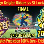 Today Match Prediction-Trinbago Knight Riders vs St Lucia Zouks-CPL T20 2020-Final Match-Who Will Win