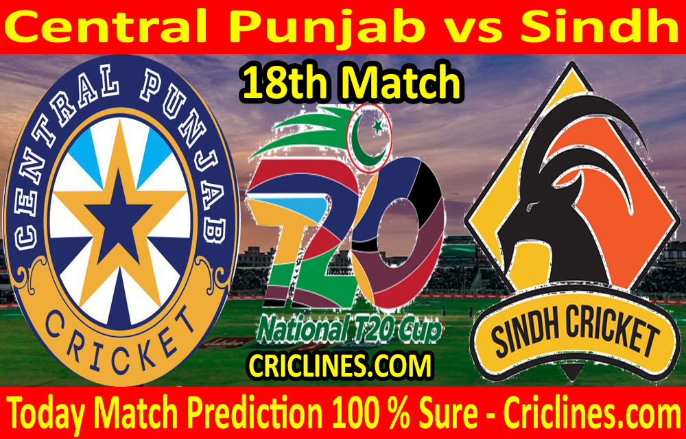 Today Match Prediction-Central Punjab vs Sindh-T20 Cup 2020-18th Match-Who Will Win