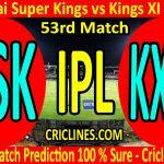 Today Match Prediction-Chennai Super Kings vs Kings XI Punjab-IPL T20 2020-53rd Match-Who Will Win