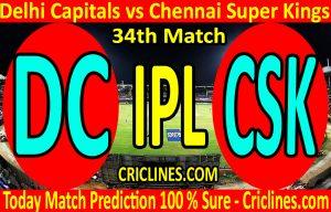 Today Match Prediction-Delhi Capitals vs Chennai Super Kings-IPL T20 2020-34th Match-Who Will Win