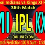 Today Match Prediction-Mumbai Indians vs Kings XI Punjab-IPL T20 2020-36th Match-Who Will Win