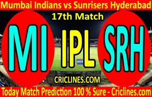 Today Match Prediction-Mumbai Indians vs Sunrisers Hyderabad-IPL T20 2020-17th Match-Who Will Win
