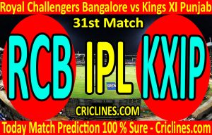 Today Match Prediction-Royal Challengers Bangalore vs Kings XI Punjab-IPL T20 2020-31st Match-Who Will Win