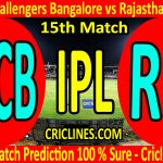 Today Match Prediction-Royal Challengers Bangalore vs Rajasthan Royals-IPL T20 2020-15th Match-Who Will Win