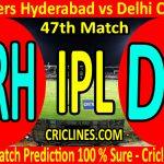 Today Match Prediction-Sunrisers Hyderabad vs Delhi Capitals-IPL T20 2020-47th Match-Who Will Win