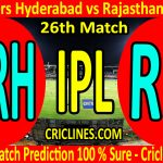 Today Match Prediction-Sunrisers Hyderabad vs Rajasthan Royals-IPL T20 2020-26th Match-Who Will Win