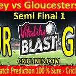 Today Match Prediction-Surrey vs Gloucestershire-Vitality T20 Blast 2020-Semi Final 1-Who Will Win