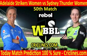 Today Match Prediction-Adelaide Strikers Women vs Sydney Thunder Women-WBBL T20 2020-50th Match-Who Will Win