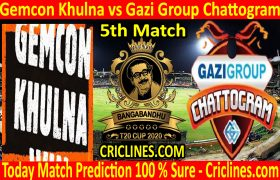 Today Match Prediction-Gemcon Khulna vs Gazi Group Chattogram-B T20 Cup 2020-5th Match-Who Will Win