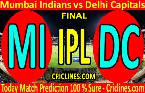 Today Match Prediction-Mumbai Indians vs Delhi Capitals-IPL T20 2020-Final-Who Will Win