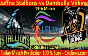 Today Match Prediction-Jaffna Stallions vs Dambulla Viiking-LPL T20 2020-15th Match-Who Will Win
