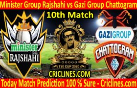 Today Match Prediction-Minister Group Rajshahi vs Gazi Group Chattogram-B T20 Cup 2020-10th Match-Who Will Win