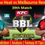 Today Match Prediction-Brisbane Heat vs Melbourne Renegades-BBL T20 2020-21-39th Match-Who Will Win