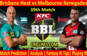 Today Match Prediction-Brisbane Heat vs Melbourne Renegades-BBL T20 2020-21-39th Match-Who Will Win