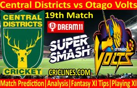 Today Match Prediction-Central Districts vs Otago Volts-Super Smash T20 2020-21-19th Match-Who Will Win