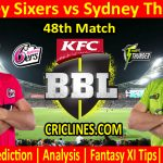 Today Match Prediction-Sydney Sixers vs Sydney Thunder-BBL T20 2020-21-48th Match-Who Will Win