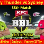 Today Match Prediction-Sydney Thunder vs Sydney Sixers-BBL T20 2020-21-38th Match-Who Will Win