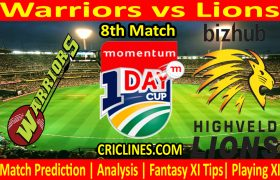 Today Match Prediction-Warriors vs Lions-Momentum One Day Cup 2021-8th Match-Who Will Win