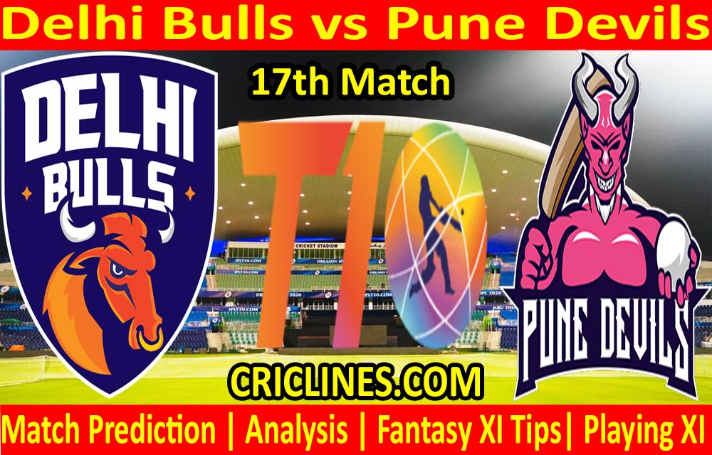 Today Match Prediction-Delhi Bulls vs Pune Devils-T10 League-17th Match-Who Will Win